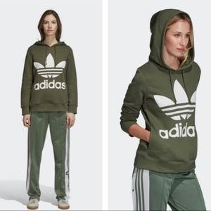 Adidas Originals Green Trefoil Hoodie Like New S
